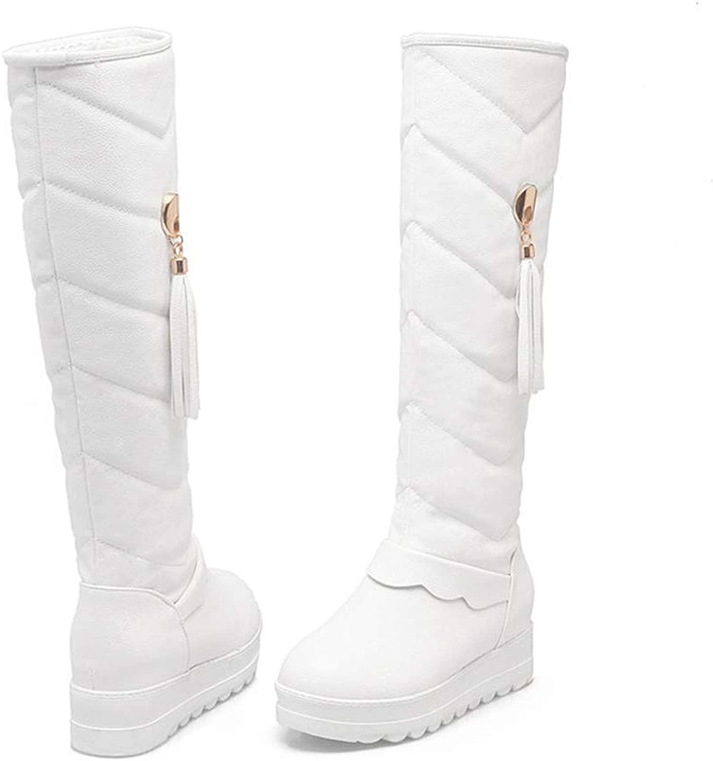 T-JULY Winter Women Shorts Mid Calf Boots Comfortable Sweet Fringe Pearl Round Toe Boots