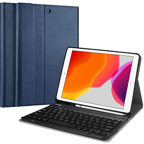 ProCase iPad 10.2 2020/2019 Custodia Tastiera[Inglese US Layout], iPad 8/7 Tastiera, Cover Sottile Leggera con Tastiera Wireless Staccabile Magnetica per iPad 8a/7a Generazione –Blu Marino