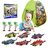 Dinosaur Toys Set with Kids Play Tent and Pull Back Cars,Toy for 3 4 5 6 7 8 Years Old Boys and Toddlers Indoor Outdoor Toy Games (Dino Full)