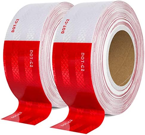 DOT C2 Reflective Safety Tape 2 Inch x 200 Feet Red White Conspicuity Tape for Vehicles Trailers product image