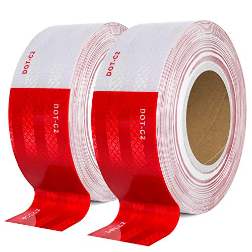 DOT-C2 Reflective Safety Tape 2 Inch x 200 Feet Red/White Conspicuity Tape for Vehicles, Trailers, Boats, Signs (200 FT)