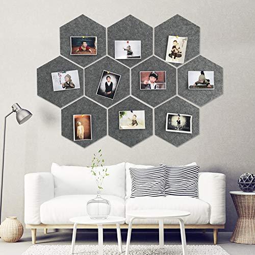 Juego de azulejos hexagonales de fieltro con parte trasera completamente adhesiva, colorido, para crear tu propia pizarra de anuncios de pared en cualquier lugar de tu hogar para crear un lugar práctico para guardar notas, fotos, objetivos, imágenes, dibujo, clave, dark_gray, 10_pcs