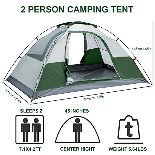Bessport Camping Tent 2 & 4 & 6 Person Backpacking Tent Waterproof Lightweight Easy Setup Tent with Two Doors for Outdoor, Hiking Mountaineering Travel