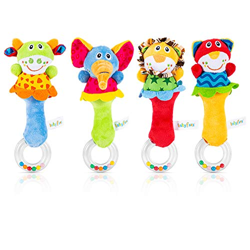 ThinkMax Baby Soft Rattles Toys,Infant Sensory Development Hand Grip Toys,Cute Stuffed Animal Handbells for Newborn Gift(4 Pack)