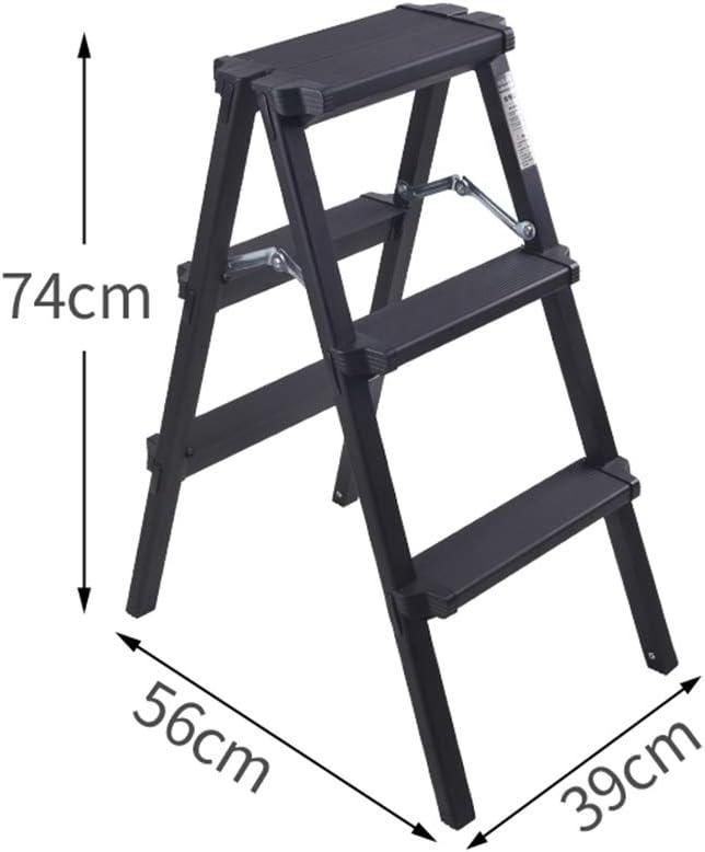 Nero Scala a Spina di Pesce addensata NYDZDM Scaletta di ingegneria polivalente Scaletta Pieghevole Scala telescopica per Uso Domestico Size : 2 Step