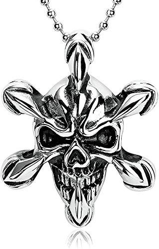 WYDSFWL Collares Moda Collar Encanto Personalidad Popular Punk Moderno Hip Hop Rock Collar Fácil combinación Retro Gótico Dragón Garra Collar de Calavera Colgante Acero Inoxidable