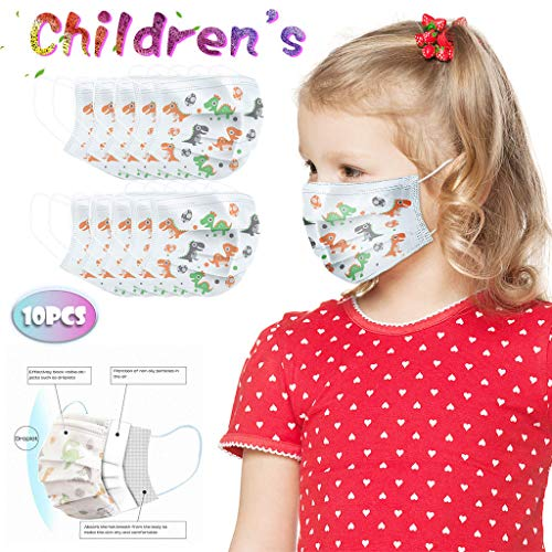 For Sale! 3 Ply Non-Woven Face Bandanas for Kids,yxcmeoa 100Pcs Disposable with Cute Dinosaur Patter...