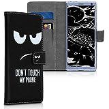 kwmobile Sony Xperia 10 Hülle - Kunstleder Wallet Case für Sony Xperia 10 mit Kartenfächern & Stand - Don't Touch My Phone Design Weiß Schwarz