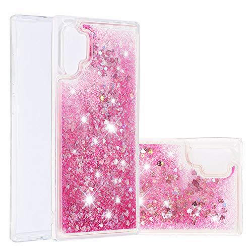 Galaxy Note 10 Pro Housse Paillettes Rose, Fluide Flottant Liquide Sables Mouvant Glitter Paillette Protection Coque Antichoc Silicone Souple Brillante Étui Compatible avec Samsung Note 10+ Plus