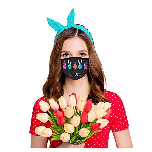 CawBing Face_mask 10 PCS Bunny ???? Bandana Face_Coverings Easter Rabbit Egg Printed Unisex Reusable Breathable Washable Protection Scarf Safety Balaclava for Motorcycle Cycling