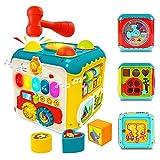 deAO Cubo Educativo 7en1 con Actividades para Bebés Descubre y Aprende Juego Infantil con Clasificación de Formas, Luz y Música y Accesorios - Centro de Actividad para Edades Tempranas