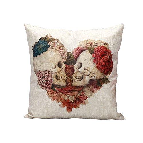 iHome Funda de cojín decorativa de algodón y lino, espacio 45 x 45 cm, diseño de calavera y corazón