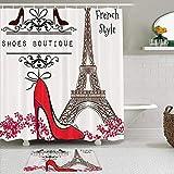 KISSENSU Cortinas con Ganchos,Torre Eiffel Tacones Rojos y París Francia Ciudad Landmark Sign,Cortina de Ducha Alfombra de baño Bañera Accesorios Baño Moderno