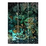 Bilderwelten Tende scorrevoli Set Oro Isole del Mar Astratta 3 Pannelli 250 x 180cm Senza Supporto