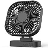 6'' Desk Fan with Timer, USB or AA Battery Operated Fan, 3 Speeds, Extra Quiet, 7-Blade Design, Adjustable Angle, for Office Desk, Bedroom and Outdoor (without Batteries)