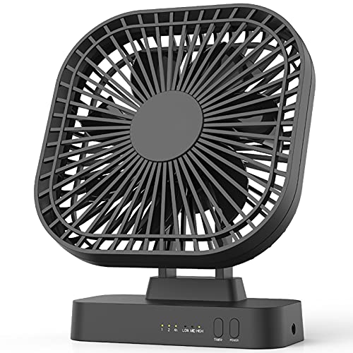 6'' Desk Fan with Timer, USB or AA Battery Operated Fan, 3 Speeds, Extra Quiet, 7-Blade Design, Adjustable Angle, for Office Desk, Bedroom and Outdoor...