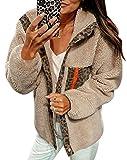 ECOWISH Women Fleece Leopard Coat Long Sleeve Button Down Jackets Winter Lapel Outerwear Beige Medium
