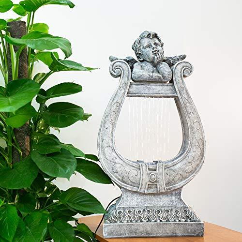 CYA-DECOR Angel Tabletop Fountain Indoor, Waterfall Fountains Outdoor with LED Lights, 31.7 Inches