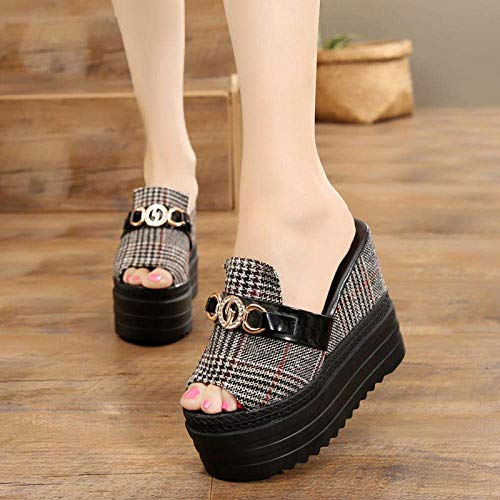 CCJW Comfort Tanga con Arco, de Las Mujeres Sandalias de Plataforma y Zapatillas con cuña Black_36, Playa Zapatos de baño Gimnasio Chanclas kshu