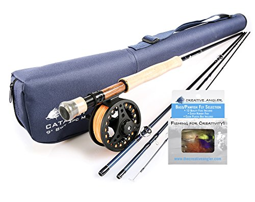 Creative Angler Catalyst Fly Rod and Fly Reel Combo 8wt with Bass Fly Selection for Fly Fishing