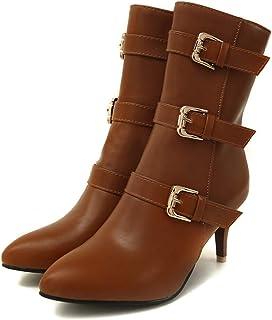 Stiletto Halfhoge Laarzen, Dames Korte Laarzen Met Spitse Neus En Hoge Hakken Aan De Zijkant Met Rits, Korte PU-Laarzen Me...