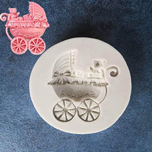 SHEANAON Bear Baby Carriage Car BowsMould DIY Fondant Baking Cake Decorating Tools Silicone Mold Chocolate Gumpaste Mold