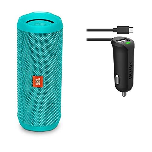 JBL Flip 4 Waterproof Portable Wireless Bluetooth Speaker Bundle with MicroUSB Car Charger - Teal