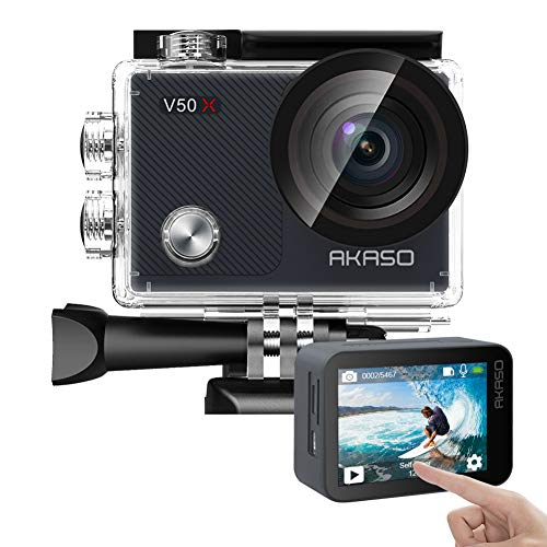 AKASO V50X Native 4K30fps WiFi Action Camera with EIS Touch Screen 4X Zoom 131 feet Waterproof...