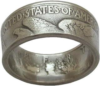 JOOLIXUACT Walking Liberty Coin Ring Handcraft Rings Vintage Date Inside Ring Chritmas Gift Birthday Gift 10#
