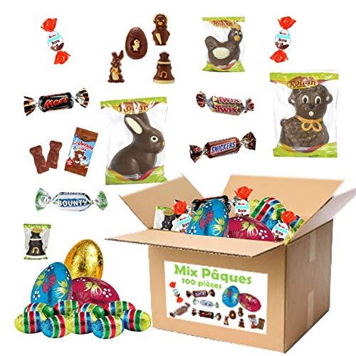 Mix 100 chocolats de Pâques - moulages et oeufs, Kinder Schokobons, oursons Cémoi, Mars, Bounty, Snickers, twix
