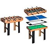 HOMCOM Mesa Multijuegos 4 en 1 Incluye Futbolín Air Hockey