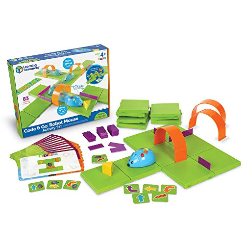 Learning Resources Code & Go Robot Mouse Activity Set, STEM, Kids Coding Toy, Programs up to 40 Steps, 83 Pieces, Ages 4+