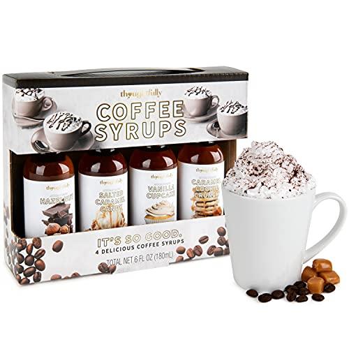Modern Gourmet Foods - Kaffee-Sirup Geschenkset - Enthält 4x leckeren Sirup für den Kaffee - Haselnuss, Salz-Karamell, Vanille, Karamell