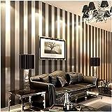 QIHANG Modern Minimalist Non-Woven Vertical Stripes Wallpaper Roll Black Gray 0.53m10m=5.3㎡