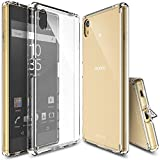 Ringke Fusion Compatible with Xperia Z5 Case Crystal Clear PC Back TPU Bumper with Screen Protector Drop Protection, Shock Absorption Technology Attached Dust Cap - Clear