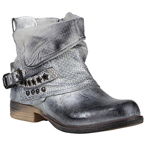 Gefütterte Damen Biker Boots Nieten Schnallen Stiefeletten Schuhe 149768 Silber Nieten 37 Flandell