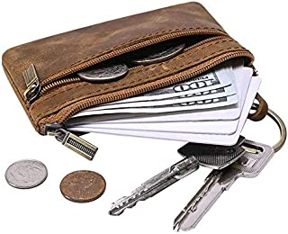 QEES Men's Coin Purse, Genuine Leather Change Purse, Mini Cash Wallet for Father Husband GJB31-2
