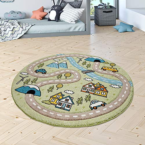 Kinderzimmer Kinderteppich Teppich Rund Kurzflor Straßen Muster Modern Pastell, Grösse:120 cm Rund, Farbe:Grün
