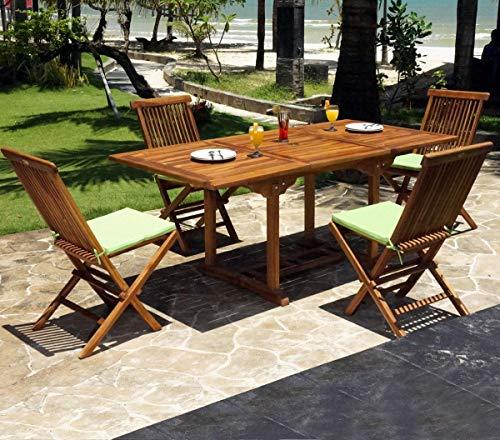 Salon en Teck huilé de Jardin 4 à 8 Places Table 120-180 cm