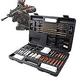 WDSZXH Universal Aluminio para Pistolas de Rifle Pistolas Shotgun Gun Kit de Limpieza Cepillos con Funda de Madera (Color : Black)