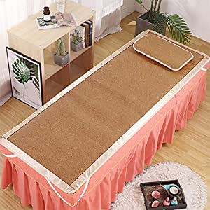 KKCD Beauty Bed Bamboo Summer Bed Mat,Spa Massage Bed Bamboo Rattan Mat,Ice Silk Mat for Sofa Bed,Single Sleeping Mattress,Portable,Durable,Flower,65120cm