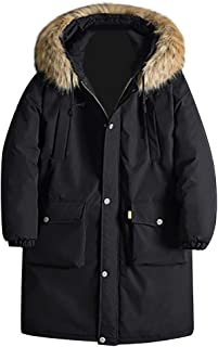 wuliLINL Men's Solid Color Faux Fur Hooded Jacket Slim Fit Casual Zip up Cotton Padded Parka Outwear