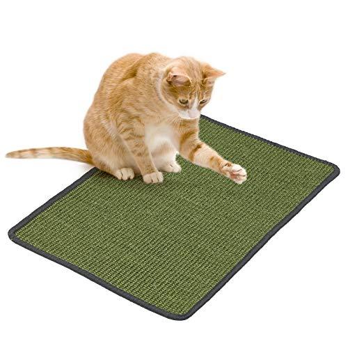 PETTOM Kratzmatte Katze, Kratzteppich Sisal 40×60cm, Kratzbretter Boden rutschfest, Natürlicher Sisalteppich für Katzen