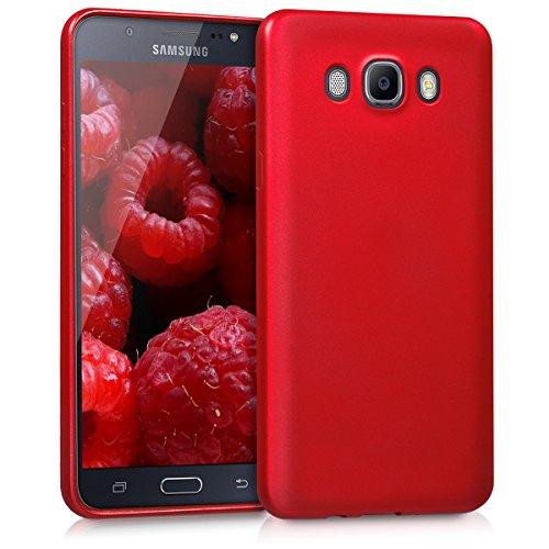 kwmobile Hülle kompatibel mit Samsung Galaxy J7 (2016) - Hülle Silikon metallisch schimmernd - Handyhülle Metallic Dunkelrot