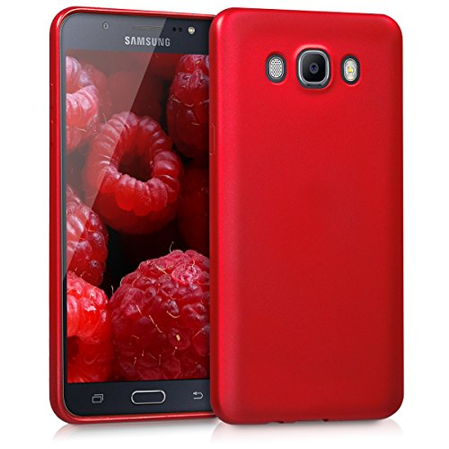 kwmobile Funda Compatible con Samsung Galaxy J7 (2016) - Carcasa móvil de Silicona - Protector Trasero en Rojo Oscuro Metalizado