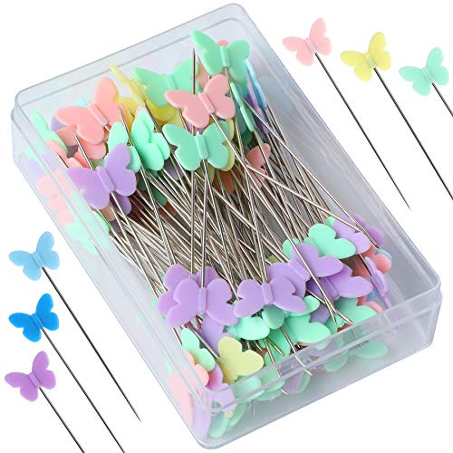 2.16 Inch Sewing Pins Flat Head Straight Pins Butterfly Head Sewing Pins Straight Quilting Pins for Sewing DIY Projects Dressmaker Jewelry Decoration (100)