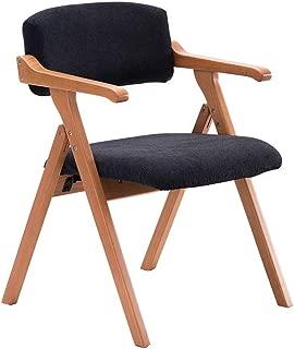 HLYT-Barstools Chairs Folding Chair Solid Wood Dining Chair Armchair Home Restaurant Desk Balcony Chair Meeting Leisure Chair/Dark Blue Straight Grain/Maximum Load 200KG