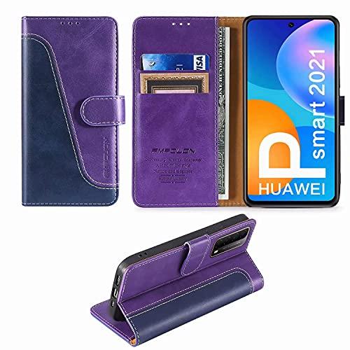 FMPCUON Custodia Huawei P Smart 2021,Premium Portafoglio Magnetica Flip Case Custodie Cover a Libro Custodia in Pelle per Huawei P Smart 2021,Blu/Porpora
