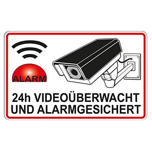 topdesignshop Aufkleber Alarmgesichert Video Überwacht 24h Kamera Motiv Alarmanlage Dummy Kameraüberwachung atrappe Sticker für Haus Objektschutz
