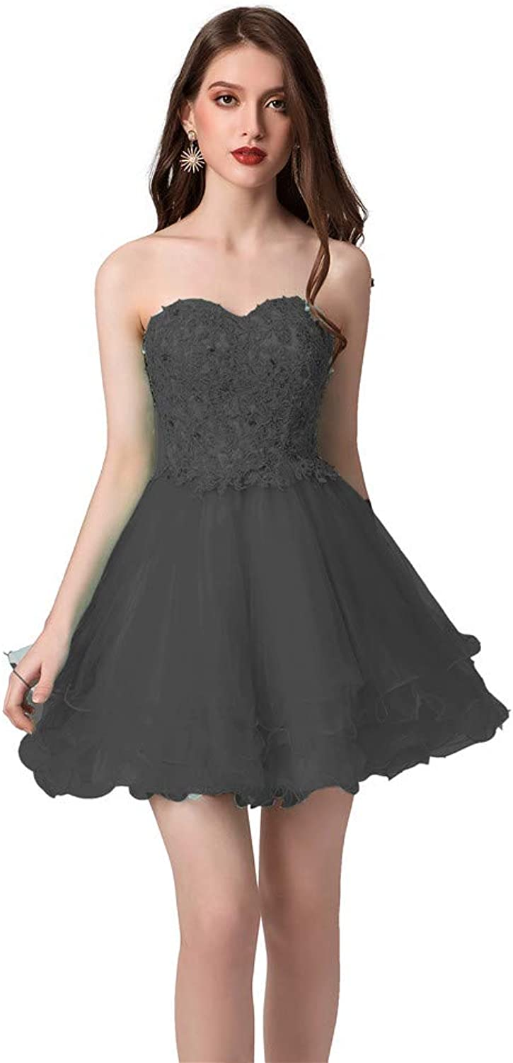 Datangep Short Prom Dresses for Juniors Lace Appliques Tulle Homecoming Dress